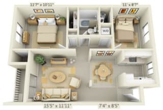 Rolling Hills Apartments 2x1 Floor Plan A 776 Square Feet