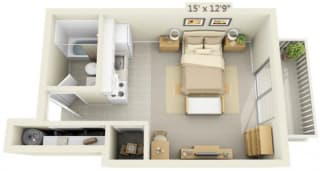 Rolling Hills Apartments Studio 0x1 Floor Plan 378 Square Feet