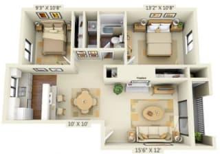 Pembrooke Apartments Alki 2x1 Floor Plan 840 Square Feet
