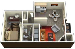 Chambers Creek Estates 1x1 Floor Plan 722 Square Feet