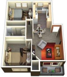 Chambers Creek Estates 2x1 Floor Plan 947 Square Feet