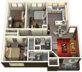 Chambers Creek Estates 3x2 Floor Plan 1315 Square Feet