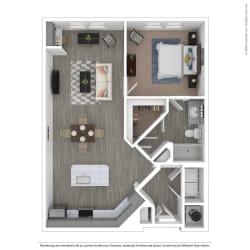 A1E One Bed One Bath Floor Plan at Integra Sunrise Parc, Florida