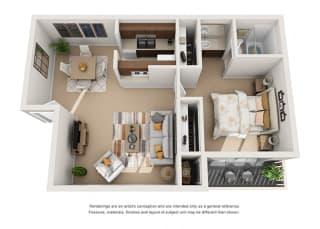 1 bed 1 bath floorplan 3D, at Patterson Place, Santa Barbara, CA 93111