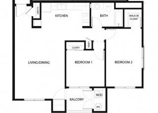 Plan 10 2 Bedroom 1 Bathroom Floor Plan at Hancock Terrace Apartments, California