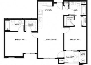 Plan 13 2 Bedroom 2 Bathroom Floor Plan at Hancock Terrace Apartments, Santa Maria, CA