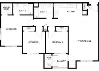 Plan 15 3 Bedroom 2 Bathroom Floor Plan at Hancock Terrace Apartments, Santa Maria, California