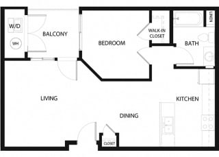 Plan 4 1 Bedroom 1 Bathroom Floor Plan at Hancock Terrace Apartments, California, 93454