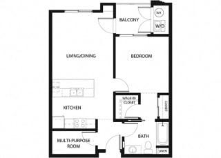 Plan 5 1 Bedroom 1 Bathroom Floor Plan at Hancock Terrace Apartments, Santa Maria, CA, 93454