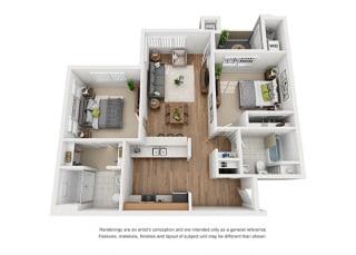 Plan 11 2 Bedroom 2 Bathroom 3D Floor Plan at Hancock Terrace Apartments, Santa Maria, CA, 93454