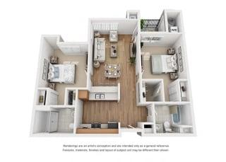 Plan 12 2 Bedroom 2 Bathroom 3D Floor Plan at Hancock Terrace Apartments, Santa Maria, CA