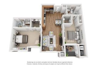 Plan 13 2 Bedroom 2 Bathroom 3D Floor Plan at Hancock Terrace Apartments, Santa Maria, 93454
