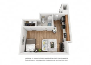 Plan 1 1 Bedroom 1 Bathroom 3D Floor Plan Layout at Hancock Terrace Apartments, Santa Maria