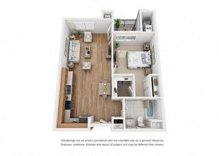 Plan 3 1 Bedroom 1 Bathroom 3D Floor Plan Layout at Hancock Terrace Apartments, California, 93454