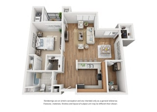 Plan 7 1 Bedroom 1 Bathroom 3D Floor Plan at Hancock Terrace Apartments, Santa Maria, California
