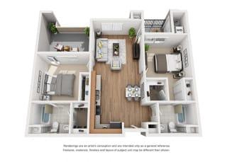 Plan 8 2 Bedroom 2 Bathroom 3D Floor Plan at Hancock Terrace Apartments, Santa Maria