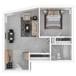 Capital Plaza Apartments One Bedroom 540 Floor Plan