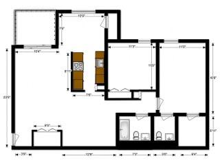 Oakton Park Apartments Two Bedroom Floor Plan A