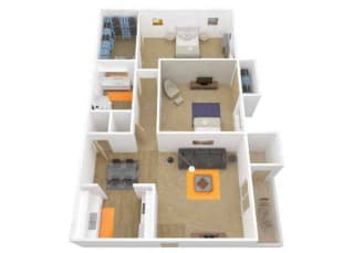 2 Bedroom 1 Bath floor plan. l The Grove Apartments in Davis CA