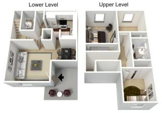3 bedroom 1.5 bathroom  townhome 3D floor plan