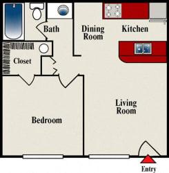 Floor Plan One Bed One Bath