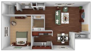 1 Bed 1 Bath Floor Plan at Monaco Lakes, Denver, CO, 80222