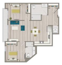 Two Bedroom Two Bath Floor Plan at Concourse, Los Angeles, California