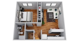 The Broadmoor Apartments 1 Bedroom 3D Floor Plan