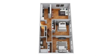 The Broadmoor Apartments 2 Bedroom 3D Floor Plan