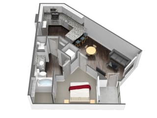 A3 1 Bedroom 1 Bathroom Floor Plan at Spoke Apartments, Atlanta, Georgia