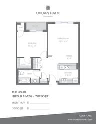 The Louis floor plan 1 bedroom 1 bath 775 sq ft