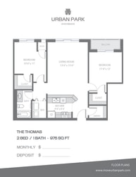 The Thomas 2 bedroom 1 bath floor plan 975 square feet