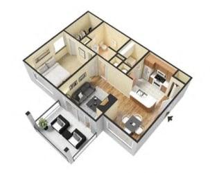 1 Bed 1 Bath Floor Plan at Village at Lake  Highland, Lakeland, Florida