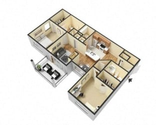2 Bed 2 Bath Floor Plan at Village at Lake  Highland, Lakeland, 33813