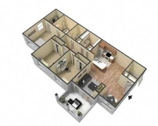 3 Bed 2 Bath Floor Plan at Village at Lake  Highland, Lakeland
