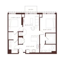 b2b Floorplan at North+Vine, Illinois, 60610