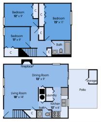 THE MAGNOLIA Floor Plan at Woodbridge Apartments, Louisville, KY, 40242