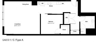 The Danforth Apartments 0-1C ADA Floor Plan