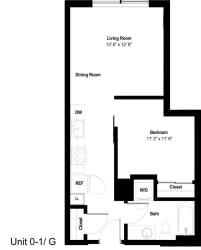 The Danforth Apartments 0-1G Floor Plan