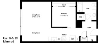 The Danforth Apartments 0-1D Mirror Floor Plan