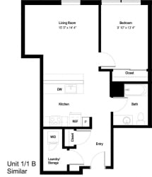 The Danforth Apartments 1x1B SIM Floor Plan