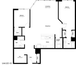 The Danforth Apartments 2x2D Floor Plan