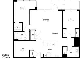 The Danforth Apartments 2x2 A ADA Floor Plan