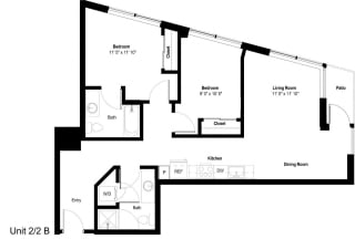 The Danforth Apartments 2x2 B Floor Plan