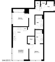 The Danforth Apartments 2x2 C Floor Plan