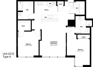 The Danforth Apartments 2x2E ADA Floor Plan