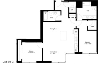 The Danforth Apartments 2x2G Floor Plan