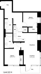The Danforth Apartments 2x2H Floor Plan