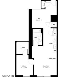 The Danforth Apartments 1x1 C Floor Plan