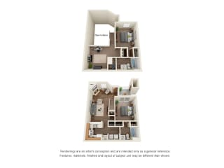 Two bedroom two bath townhome floorplan layout
